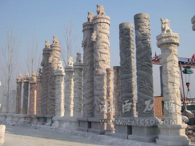 龙柱修饰、罗马柱类石雕